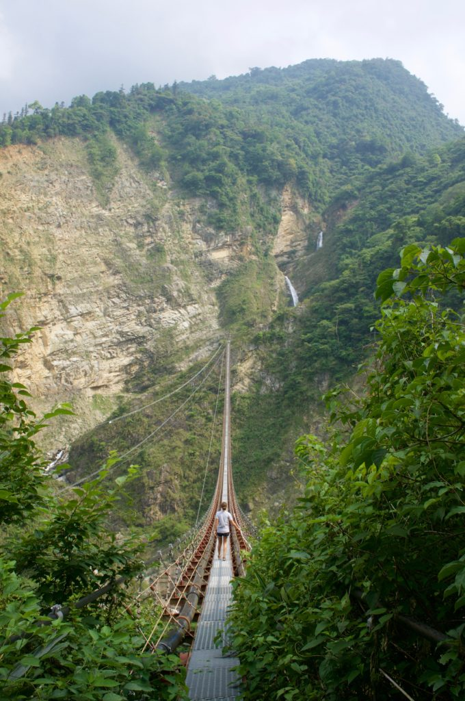 suspension bridge to double dragon waterfall